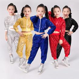 2019 catena di danza del ventre rosso Costumi da ballo per bambini, per le esibizioni Jazz, maniche lunghe, maniche lunghe, paillettes, cappotto + pantaloni, 2 pezzi, 5 colori, costume da danza hip hop