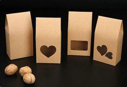 Scatole regalo per il cibo online-50 pezzi / lotto sacchetti di carta kraft / scatole di carta marrone alzarsi finestra per matrimonio / regalo / gioielli / cibo / sacchetti di imballaggio caramelle 8x5x16 cm