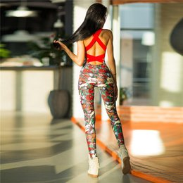 Wholesale Sexy Dance Set Wear - One Piece Sexy Gym Clothing Suit Floral Print Backless Padded Yoga Set Fitness Running Tight Dance Sport Wear Gym Clothes