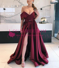 Wholesale low cut formal dresses - 2018 Burgundy Off The Shoulder Prom Dresses Sexy Low Cut High Split Evening Gowns Satin Floor Length Formal Party Dress Women Formal Wear