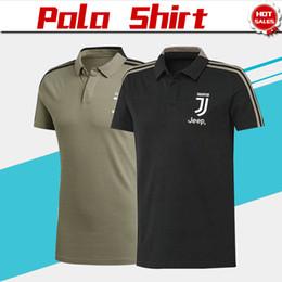 2e54be00c8 2019 Juventus Polo Black camisa de futebol 18 19 Juventus khaki futebol Polo  camisa de futebol uniformes de futebol à venda