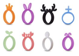 Wholesale Silicone Animal Bands - Cartoon Silicone Band Rings Flexible Ring Toy Crown Rabbit Shape Ring Band Gift Boys Girls Fashion Party Jewelry Accessories