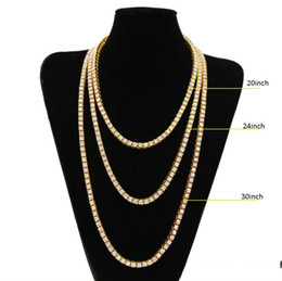Wholesale Simulated Diamonds Jewelry For Men - Gold Chain for Men Hip Hop Row Simulated Diamond Hip Hop Jewelry Necklace Chain 18-20-22-24-26-30 inch Mens Gold Tone Iced Out Punk Necklace