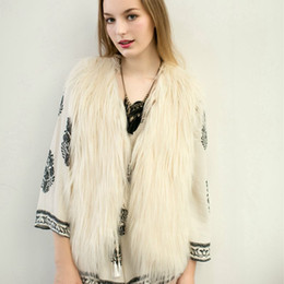 Wholesale fake fur neck warmer - 2018 Promotion Fur Coat Faux Fur Vest Fashion Ladies Autumn & Winter Warm Sleeveless Fake V-neck Waistcoat Design Outwear Hn92