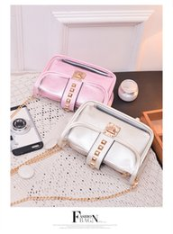 Wholesale Clear Jelly Tote - New Brand Desinger Women Transparent Bag Clear PVC Jelly Small Tote Messenger Bags Laser Holographic Shoulder Bags Female