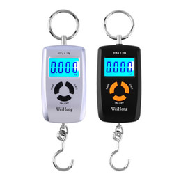 Wholesale Lcd Luggage Scale - LCD Portable Digital Electronic Scale Pocket 45kg 10g Lage Hanging Fishing Hook Balance Scale Electronic lb oz kg Color Random
