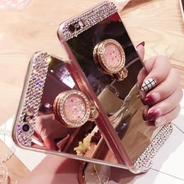 2018 mode housse de téléphone diamant plaqué anneau miroir support téléphone coque pour iPhoneX 7plus IPhone 8 6S Samsung S8 ? partir de fabricateur