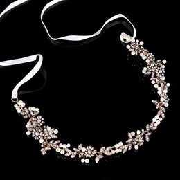 diadème de mariage ridal SLBRIDAL Antique Gold Handmade Ruban Strass Cristal Perles Floral Mariage Nuptiale Tiara Bandeau Bandeau ... ? partir de fabricateur