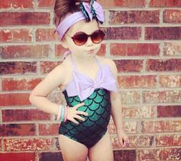 Wholesale Girls Baby Swimming Costumes - Lovely Mermaid Toddler Girls Kids Bikini Infant Baby Girls Summer Swimwear Bowknot Swimming Bathing Swimsuit Headband Costume