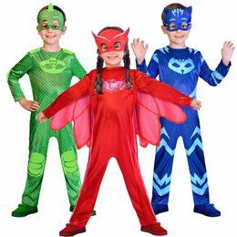 2019 costumi pj 2018 NUOVO! Tuta + maschere Catboy Owlette Gekko Costume di compleanno forniture per bambini favori bambini PJ costume di halloween costumi pj economici