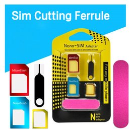 Wholesale Iphone Sim Needle - Retail Package 5 IN 1 Nano Micro Standard SIM Card Adapter Converter With Tray Open Needle For Phone 5S 7 Plus 6S