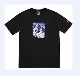 Wholesale Mountain Tee Shirts - 2018 summer new hight quality Mountain printed box logo Tee USA streetwear hip hop short sleeve t shirt men and women cotton tops tee