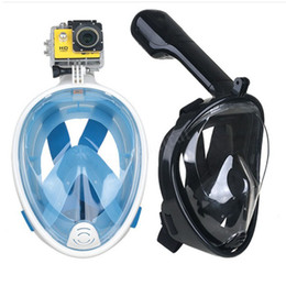 Wholesale Underwater Scuba Cameras - 2018 Full Face Snorkeling Mask Set Scuba Diving Underwater Swimming Training Scuba Mergulho Snorkeling Mask For Gopro Camera