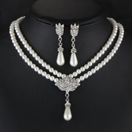 Wholesale Dubai Jewelry Sets - Waterdrop Crystal Statement Necklaces & Earrings Jewelry Sets Women Faux Pearl Dangle Choker Dubai Gold Jewelry Set Wedding Decoration