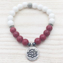 Wholesale Jade Gifts For Women - SN1102 Rose Jade Women Bracelet White Jade Bracelet Tierra Cast Lotus Charm Yoga Meditation Mala Beaded Jade Bracelet Gifts For Her