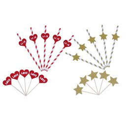 Wholesale straw stars wholesale - 5pcs Paper Drinking Straw Love Heart Star Shape Toothpick Disposable Paper Straws Wedding Christmas Party Decor Supplies