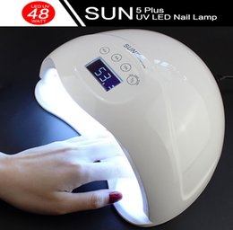 Wholesale Lcd Nail - MICSUNLY 48W sun5 plus UV Led Nail Lamp Dryer Cure UV LED Gels Polish Nail Art Tools 24LEDs LCD Timer Touch Button Double Light Auto Sensor