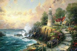 pintando paisagens marinhas Desconto Thomas Kinkade The Light O Peace pintado à mão HD Imprimir Seascape pintura a óleo sobre tela, Casa Deco Wall Art alta qualidade l179