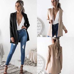 Wholesale ladies long blazers styles - 2018 Formal Fashion Newly Women Ladies Autumn Suit Coat Business Blazer Long Sleeve Solid Slim Blazes 2 Style