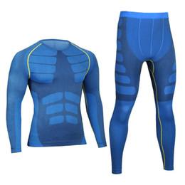6d1184961f Homens Pro Compressão Long Johns Aptidão Quick Dry Gymming Camisas  Masculinas + Calças Justas Esporte Corrida Conjuntos de Roupa Interior  Térmica 0405