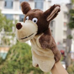 brinquedos agrícolas por atacado Desconto 27 cm brinquedos fantoche de mão De Pelúcia grande animal em forma de brinquedo de pelúcia lobo set fantoche de presente de Natal