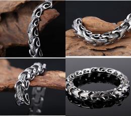 braceletes de prata da serpente dos homens Desconto Mens 316 titanium aço quilha men lady cobra pulseira pulseira dos homens 8.66 polegadas longo dragão osso de prata pulseira jóias livre dhl g824r