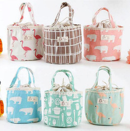 Wholesale Drawing Fabric - Portable Bear Flamingo Insulated Drawing String Lunch Bag Cartoon Animal Picnic Pouch Bag Thermal Food Lunch Box Bag OOA4570
