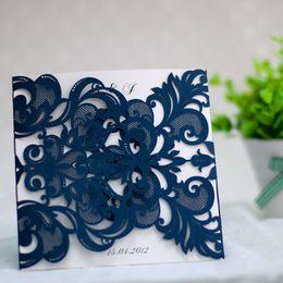 Wholesale Wedding Invitations Inserts - 1 Set Design Blue Laser Cut Wedding Invitations Fold Print customize Wedding Cards Blank Insert Envelope Seal