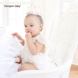 Wholesale Best Toddler Clothes - Cute Baby Girl Ins Fashion Sleeveless Lace Layers Rompers Kids Toddlers Best Selling Princess Summer Jumpsuits First Walkers Clothing