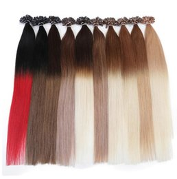Wholesale u tip hair extensions 22 - Ombre Two Tone Color Pre Bonded Keratin U tip Human Hair Extension Straight Remy Capsule Hair Nail Tip Hair Extensions 50g 100g