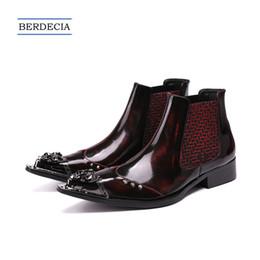 botas de hombre formal Rebajas 2018 británicos estilo tobillo botines remaches cuero genuino punta estrecha botas de Chelsea más el tamaño de los hombres zapatos de vestir formales gran tamaño 38-47