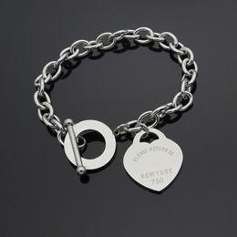 Für immer stahlschmuck online-Luxus Schmuck Marke Pulseira Edelstahl Liebe T Armband Armreif Rose Gold überzogene Herz für immer Liebe Tag Armreif Schmuck für Frauen