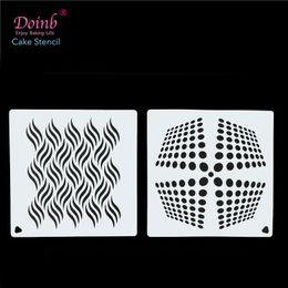 инструменты для тиснения бумаги Скидка 6Inch Geometry Wave DIY Craft Tool Cake Stencil Baking Decoration Wall Painting Moulds Album Decorative Embossing Paper Cards