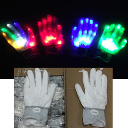 2019 bunte led-handschuhe LED Handschuhe Nylon Bunte LED Handschuhe Rave Light Finger Beleuchtung Flashing Handschuh Skelett Handschuhe Party Weihnachten Holloween Geschenk Spielzeug HQ033 rabatt bunte led-handschuhe