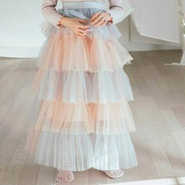 Wholesale Teenage Tutus - Retail 2018 Spring Summer Teenage Girl Skirts Tiered Gauze Fluffy Skirts Patchwork Color Fashion Cake Skirts For Children E71724