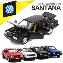 2019 модели vw Модель 1: 32 VW Santana Diecast, автомобиль металла для малышей мальчика присутствующих с вытягивает назад функцию/нот/свет / Openable двери дешево модели vw