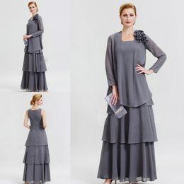 Куртка серого халата онлайн-Серый мать невесты Платья с жакетом с длинным рукавом шифон бисером плюс размер матери платье для свадьбы чай длина вечернее платье партии