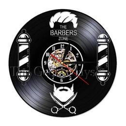 Led-innenwandleuchten 1 Stück Barber Shop Zeichen Wand Uhr Led Hängen Lampe Vinyl Record Wanduhr Friseur Salon Haar Werkzeuge Dekorative Beleuchtung Led-lampen
