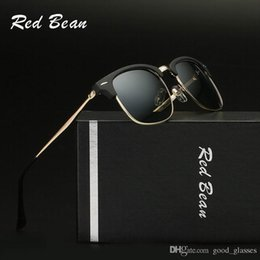 Wholesale Eye Glass Cases For Men - Fashion Red Sunglasses Vintage Club for Men Women Brand Design Master Sun Glasses 1 Bain Mirror Gafas de sol with cases
