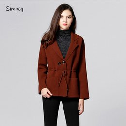 Wholesale Real Bats - Burderry Real Casual Turn-down Winter Autumn Collar Adjustable Waist Navy Wine Army Wool Coat Women M0704