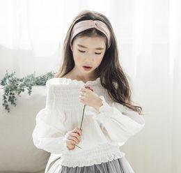 Wholesale bat sleeve girls shirt - 2018 Spring new children blouses girls ruffle dew shoulder white princess tops kids bat sleeve elastic collect waist shirts R2867