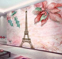 Papier peint tour eiffel en Ligne-Papier peint personnalisé moderne papier peint romantique tour eiffel fleur pour les murs 3 d papier peint chambre salon