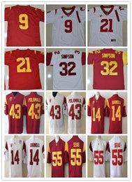 Wholesale Number 32 - Mens USC Trojans 32 OJ SIMPSON Darnold Red White Stitched College Throwback Jerseys size S--3XL Name Number embroidery Jerseys free shipping