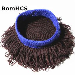 Il cappello della parrucca dell'uncinetto online-BomHCS Cute Wig Beanie Beanie 100% Handmade Crochet Winter Thick Warm Wigs Cappello ricci di capelli