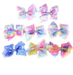 Wholesale hair bows supplies - Cute Unicorn Hairpins Rainbow Ribbon Hair Bow hair clips 5 inch Kids Hair Accessories Jojo Bows Unicorn Birthday Party Supplies KKA4209
