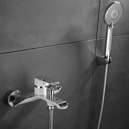 Wholesale Bath Shower Mixer Taps - Wall Mounted Bathroom Faucet Bath Tub Mixer Tap With Hand Shower Chrome-plated Hot and Cold brass Faucet