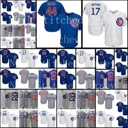 Wholesale grey baseball jerseys - Men's 17 44 12 Kyle Schwarber 9 Javier Baez 49 Jake 23 Ryne Sandberg 22 Jason Heyward Jersey Chicago Embroidery Baseball Jerseys