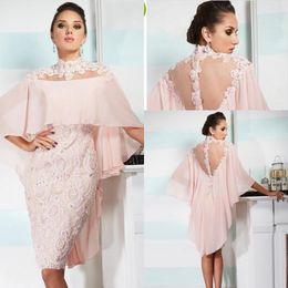 mother bride dresses knee length wrap UK - 2019 Pink Cocktail Dresses with Wraps Sheer Back High Neck Lace Sheath Knee Length Prom Dresses with Beaded Appliques Mother Of Bride Dress