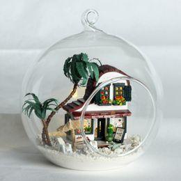 2019 construir casa de vidrio Bola de cristal de bricolaje casa de muñecas modelo de construcción Kits de madera Mini regalo de cumpleaños de muñecas miniatura hecha a mano de juguete -Mini Cafe House construir casa de vidrio baratos