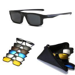 KJDCHD (5 lens) Clipe em Óculos De Sol Das Mulheres Dos Homens Magnetic  polarizada + espelhado Óculos de Sol para o dia da miopia Noite Condução  TR90 quadro cfa5650267